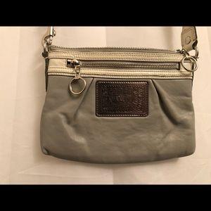 Gray leather Coach Poppy crossbody purse